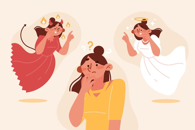 Ethisch dilemma schattige vrouw met engel en demon