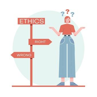 Ethische dilemma illustratie