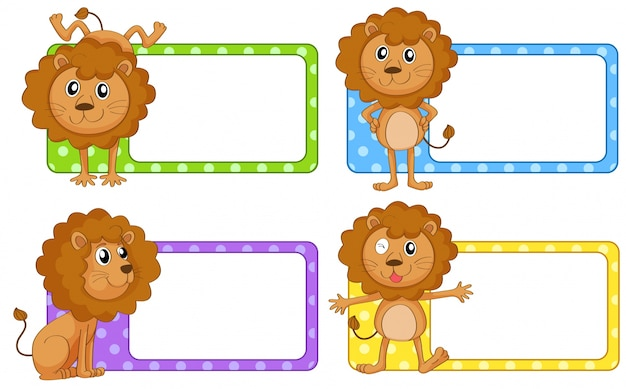 Etiket ontwerp met wilde leeuw illustratie