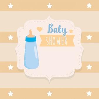 Etiket van het voeden van fles met lintdecoratie