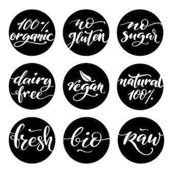 Etiket voor gezonde voeding. productetiketten of stickers.