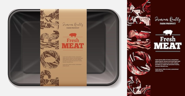 Etiketindeling voor vleesvoedsel met 3d-realistische schuimlade met labelsjabloon voor ambachtelijk papier