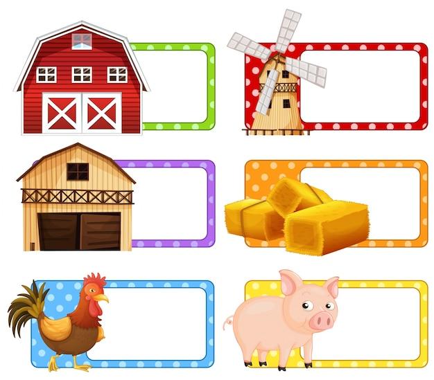 Etiketontwerp met boerderijthemaillustratie