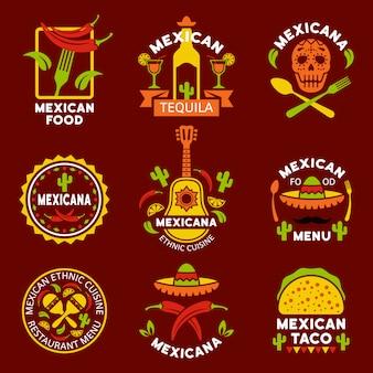 Etiketten, emblemen en badges mexicaanse etnische keuken set met ontwerpelementen