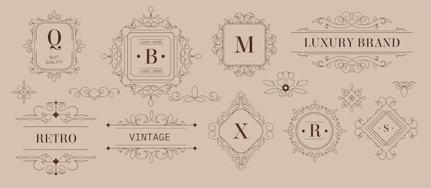 Etiketten en logo's, luxe merkontwerp met ornamenten en vormen. vintage zwart-wit schets emblemen met inscripties en decoratieve elementen. hoogwaardig kwaliteitsproduct. vector in vlakke stijl