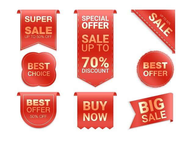 Etiketten geïsoleerd op een witte achtergrond. verkooppromotie, websitestickers, nieuwe aanbiedingbadges. platte badges korting en tags. beste keuze tags.