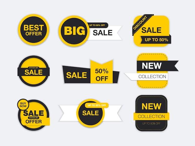 Etiketten geïsoleerd. verkooppromotie, websitestickers, nieuwe aanbiedingbadges.