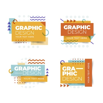 Etiketten in geometrisch ontwerp