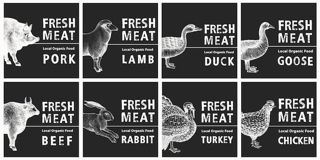 Etiketten met boerderijdieren. vintage set sjablonen prijskaartjes voor winkels en markten.