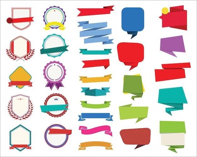 Etiketten stickers banners tag retro kleurrijk ontwerpcollectie