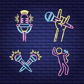 Etiketten van neonstijl in karaoke