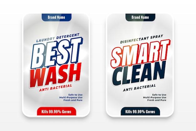 Etiketten voor beste wasmiddelen en slimme schonere wasmiddelen