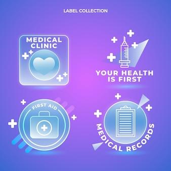 Etiketten voor medische klinieken met kleurovergang