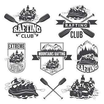 Etiketten voor sportclub van extreem gevaarlijke watersport.