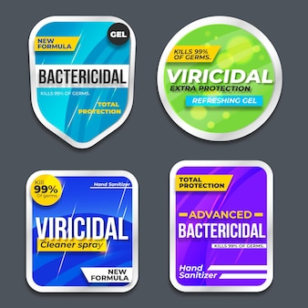 Etiketten voor viricide en bacteriedodende reinigers