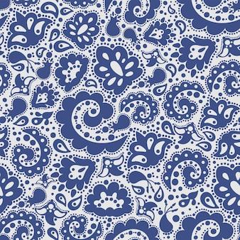 Etnisch blauw oosters illustratie naadloos patroon