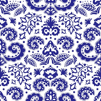 Etnisch blauw tatar ornament naadloos patroon