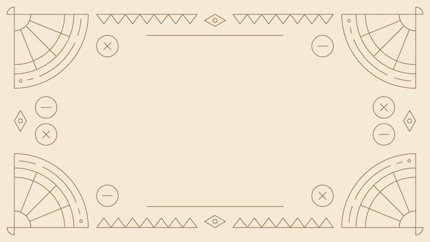 Etnisch geometrisch leeg beige frame