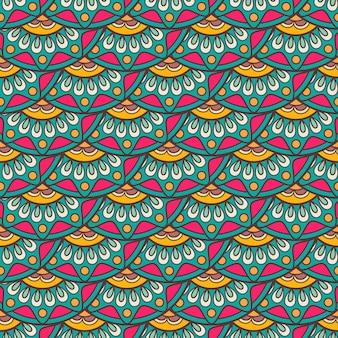 Etnisch krabbel naadloos patroon in retro kleuren