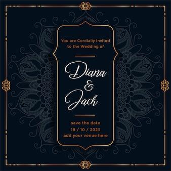 Etnisch mandala trouwkaart sjabloonontwerp