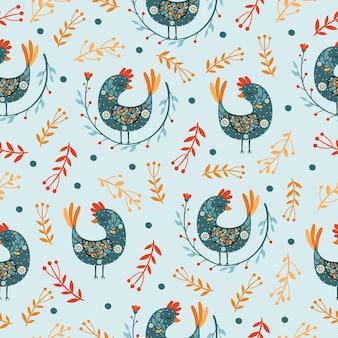 Etnisch naadloos patroon met vogels