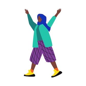 Etnisch vrouwelijk stripfiguur in kleurrijke kleding en traditionele hoofddoek