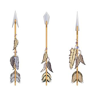 Etnische boho set pijlen, veren en bloemen, inheemse amerikaanse stam decoratie printelement, tribal navajo