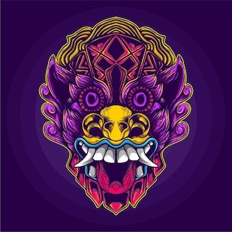 Etnische demon gezicht kunstwerk