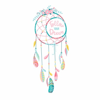 Etnische dromenvanger met veren en bloemen. moderne romantische handgetekende boho-stijl. belettering. volg je dream-tekst.