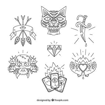 Etnische hand getekende tattoo pak