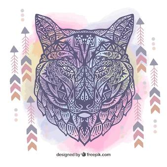 Etnische hand getekende wolf achtergrond