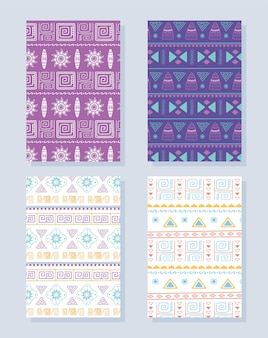 Etnische handgemaakte, traditionele tribale afrikaanse ornament cultuur textiel patroon ingesteld vectorillustratie