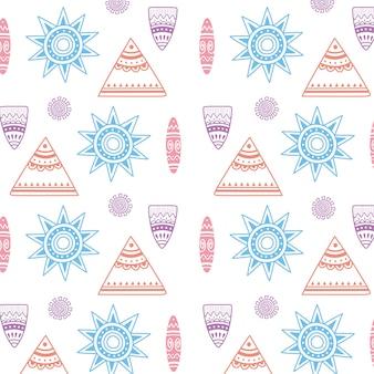Etnische handgemaakte, tribale boheemse vintage decoratie textuur achtergrond vectorillustratie