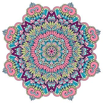 Etnische mandala-bloem. feestelijk kleurrijk geïsoleerd ontwerpelement
