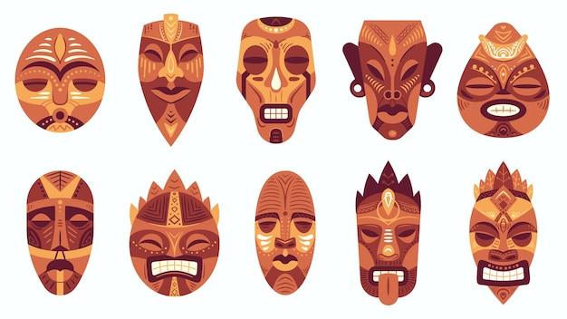 Etnische maskers. traditioneel ritueel, ceremonieel afrikaans, hawaiiaans of azteeks masker met etnische carnavalsornamenten, antieke cultuurvectorset. tribal masker van verschillende vorm met geschilderd gezicht
