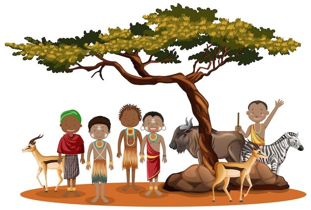 Etnische mensen met het karakter van afrikaanse stammen Premium Vector