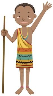 Etnische mensen van afrikaanse stammen in stripfiguur in traditionele kleding