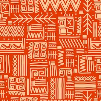 Etnische motieven groeperen naadloze textuur met oranje strepenpatroon.