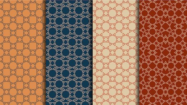 Etnische naadloze patronen vector set, geometrische kleurenachtergronden
