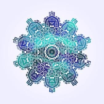 Etnische psychodelic fractal mandala vector meditatie ziet eruit als sneeuwvlok