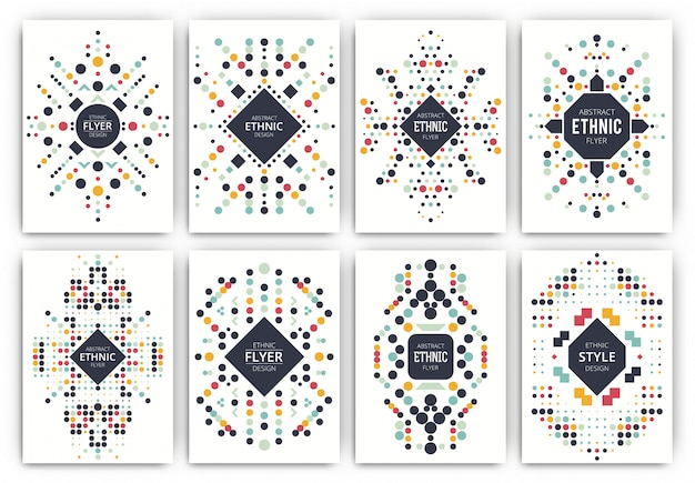 Etnische stijl brochure sjabloon set