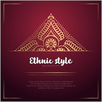 Etnische stijl kaart achtergrond met mandala en tekstsjabloon, rode en gouden kleur