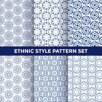 Etnische stijl patroon set
