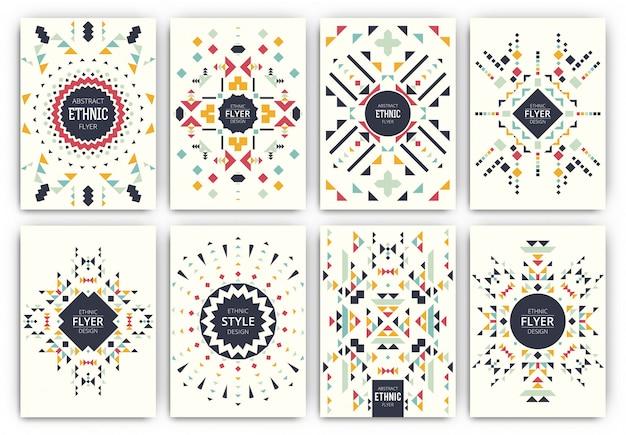 Etnische stijl sjabloon folder set