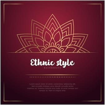 Etnische stijlachtergrond met mandala en tekstsjabloon, rode en gouden kleur