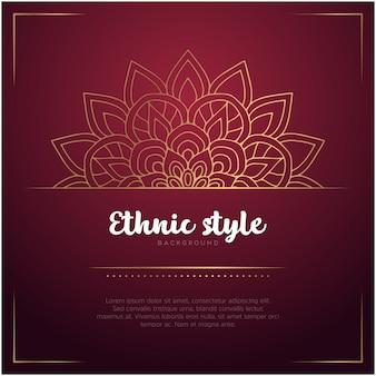 Etnische stijlachtergrond met mandala en tekstsjabloon
