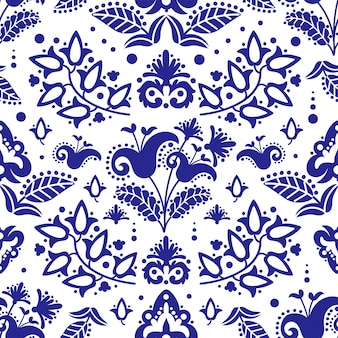 Etnische tatar blauwe ornament naadloze patroon illustratie