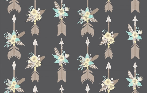 Etnische veren, pijlen en bloemen naadloos patroon. bohemian stijl. vector illustratie.