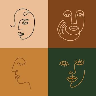 Etnische vrouw lijntekeningen pictogrammen. moderne minimalistische kunstafdrukken. esp10 vector.