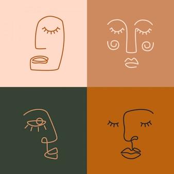 Etnische vrouw lijntekeningen pictogrammen. moderne minimalistische kunstafdrukken. esp10 vector. Premium Vector